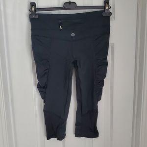 Lululemon GUC Black Cropped Pants Ruching Mesh